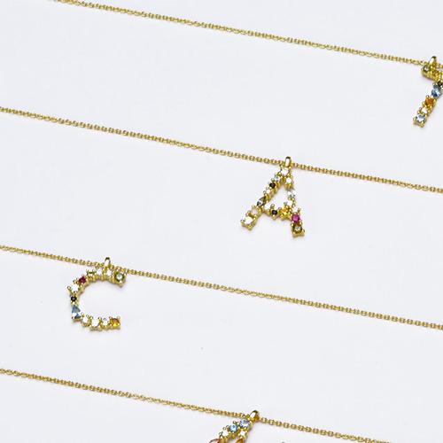 Collier avec lettre de l'alphabet en plaqué Or 18 carats