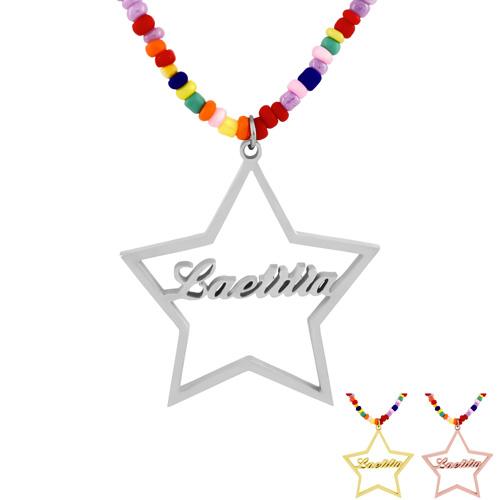 Collier étoile personnalisé prénom bijou avec collier en perles