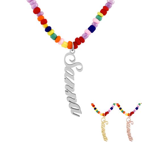 Collier personnalisé avec prénom collier avec perles multicolores