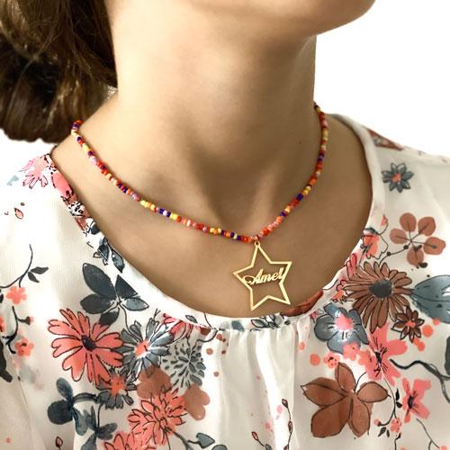 Collier prénom étoile personnalisée bijou personnalisé collier en perles perles multicolores
