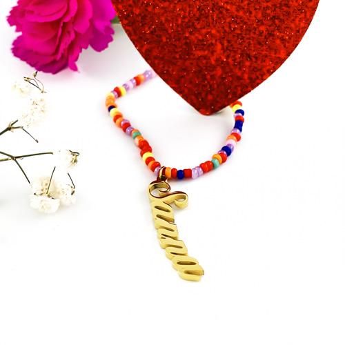 Bijou personnalisés collier prénom perles multicolores