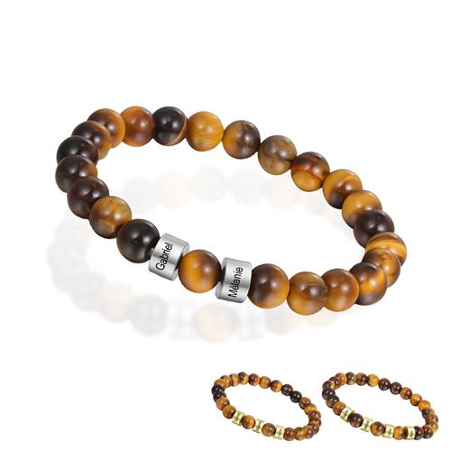 Bracelet oeil de tigre personnalisé bijou tendance personnalisable en perles