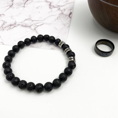 Bracelet prénom pierre de lave noir