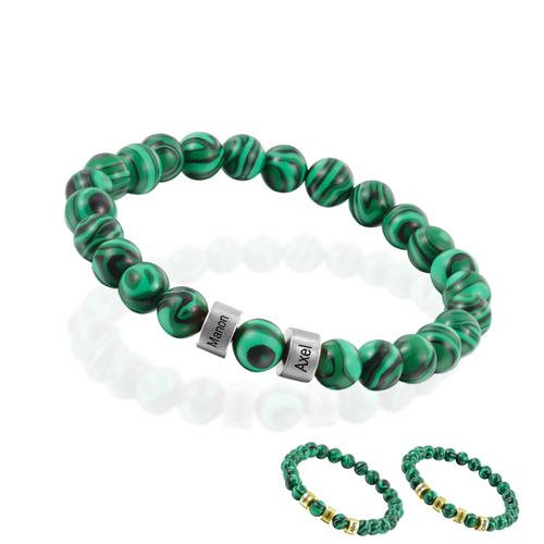 Bracelet en pierres naturelle à personnaliser bracelet pierre malachite