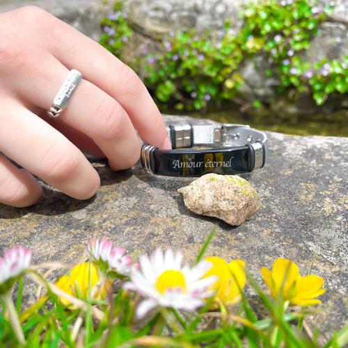 Bracelet gravé personnalisé pour femme et homme